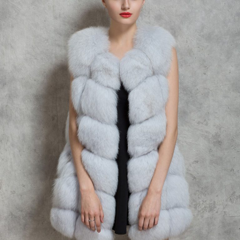 women fur vest white