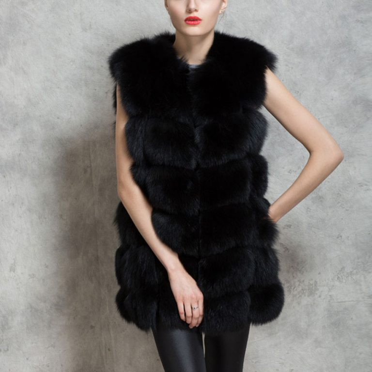 women fur vest black