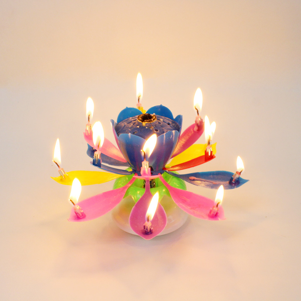 Flower Candle, Musical Lotus Rotating Flower Candle