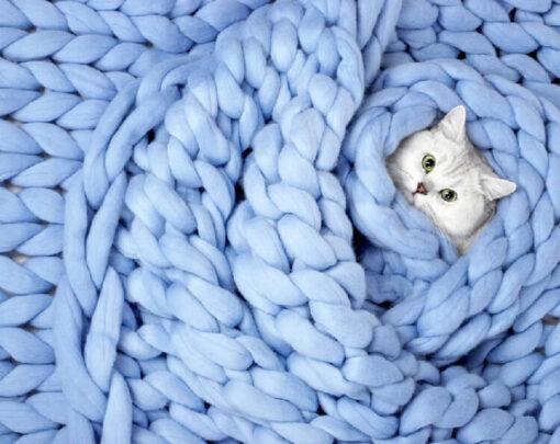 Knit Blanket, Super Chunky Knit Blanket