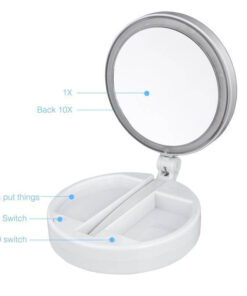 Folding Travel Mirror, LED Lighted Folding Travel Mirror