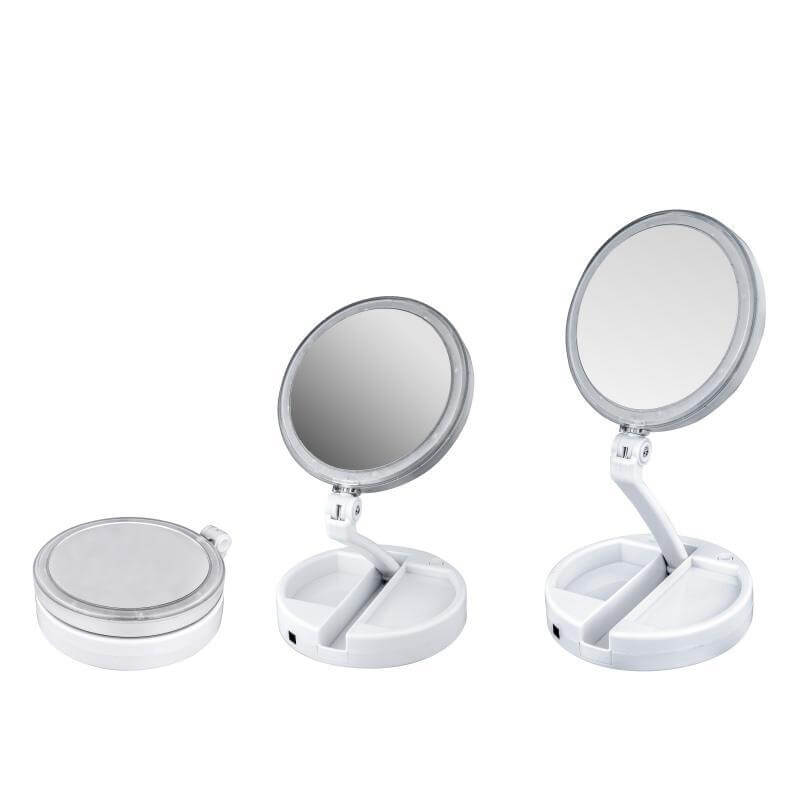 Led Lighted Folding Travel Mirror