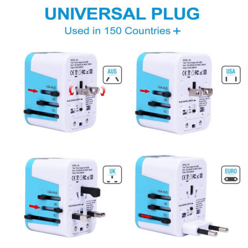 Universal Travel Adapter Electric Plugs Sockets Converter, All in One Universal Adapter