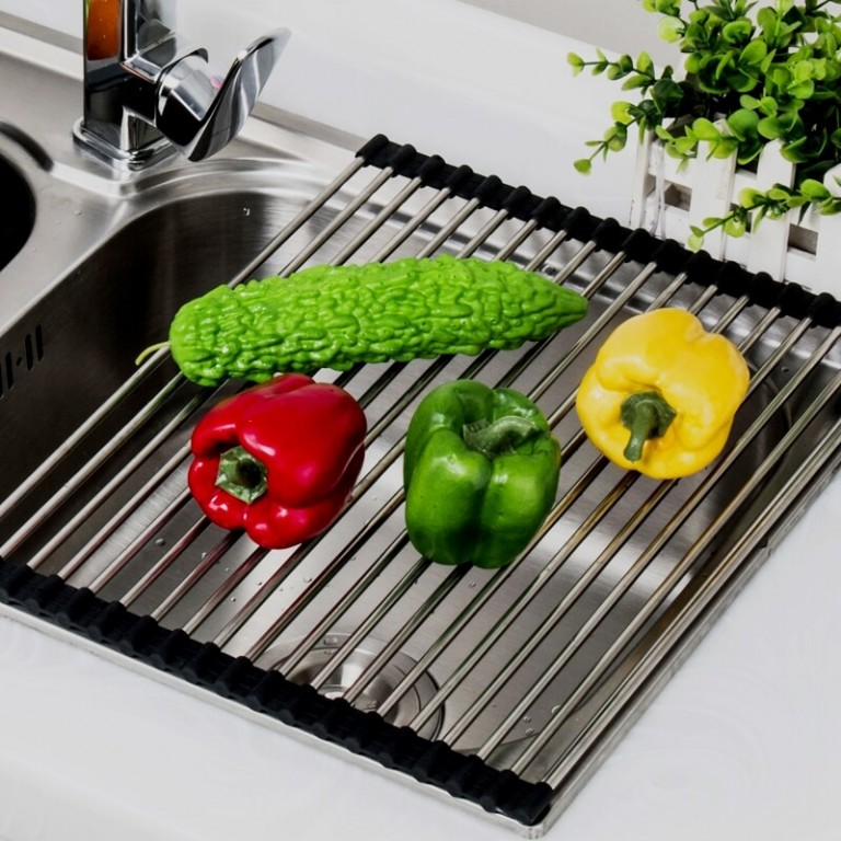 Popular-Multifunctional-Sink-Storage-Dish-Drying-Rack-Holder-Fruit-Vegetable-Drainer-Colanders-Insulation-Tool-Storage-Foldable