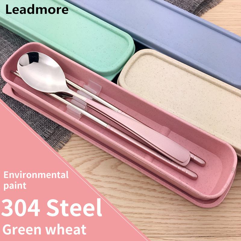 Leadmore-Portable-Kids-Dinnerware-Set-Chinese-Stainless-Steel- & Portable Stainless Steel Picnic Dinnerware Set for Kids