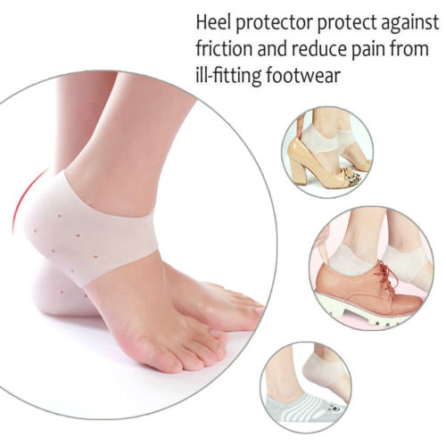 Heel and Ankle Sleeve, Protective Silicone Gel Heel and Ankle Sleeve for Plantar Fascistis (Pair)