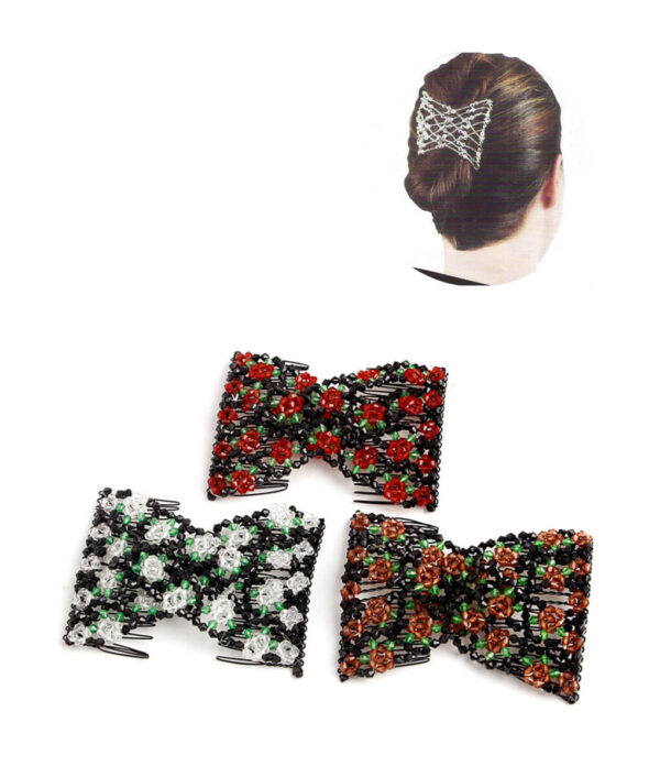 Hair Accessories Decor Women Magic Stretchy Hair Combs Clips Pin Beads Elasticity Metal Plastic Double 2017 1