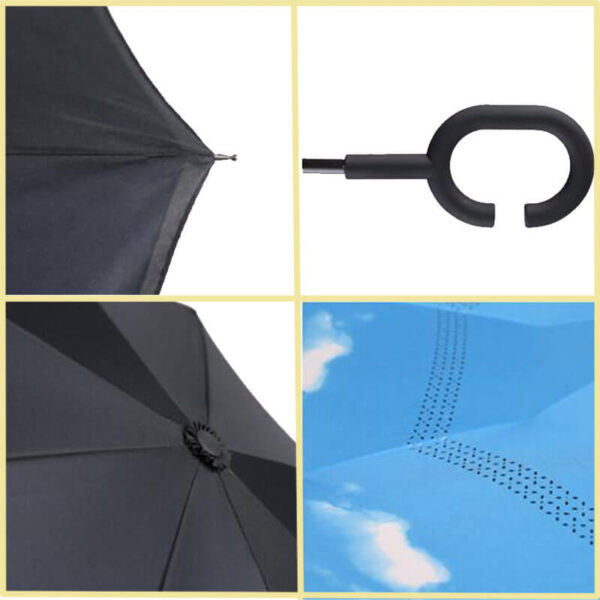 Yesello Folding Reverse Umbrella Double Layer Inverted Windproof Rain Car Umbrellas For Women 3
