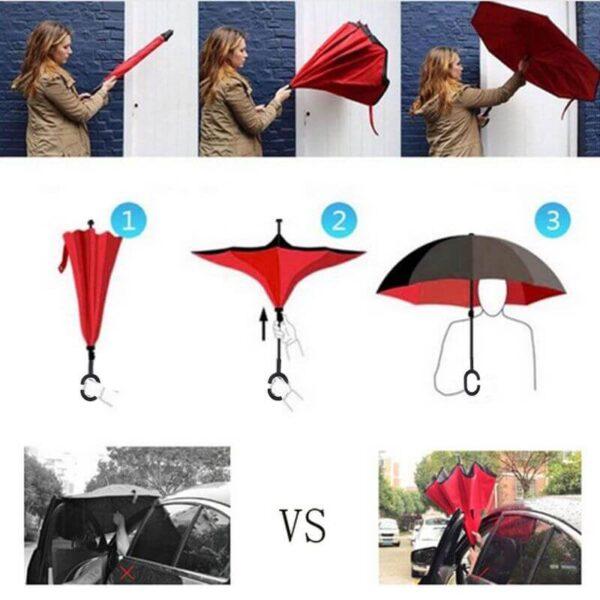 Yesello Folding Reverse Umbrella Double Layer Inverted Windproof Rain Car Umbrellas For Women 4