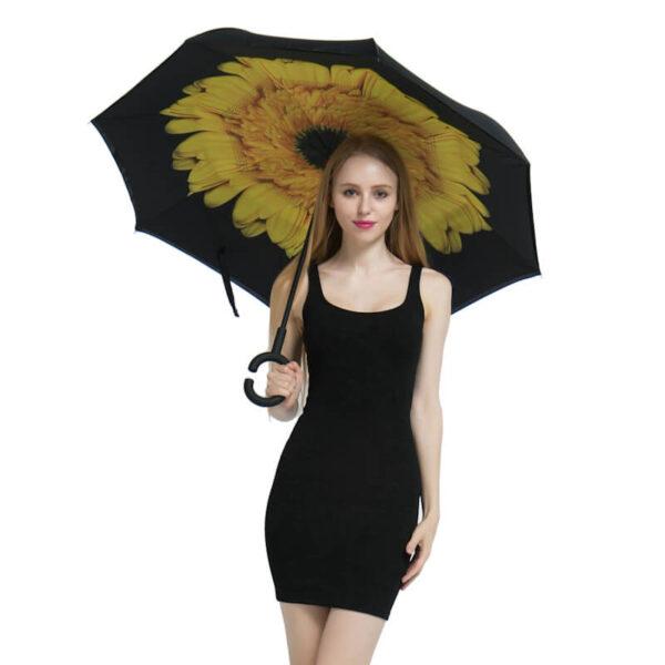Yesello Folding Reverse Umbrella Double Layer Inverted Windproof Rain Car Umbrellas For Women 5