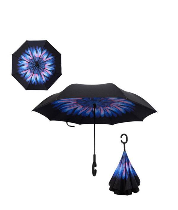 Yesello Folding Reverse Umbrella Double Layer Inverted Windproof Rain Car Umbrellas For Women.jpg 640x640 1
