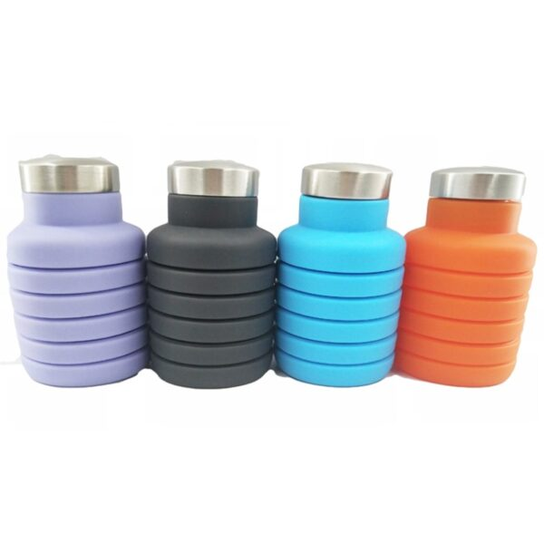 500ML Portable Silicone Water Bottle Retractable Folding Coffee Bottle Outdoor Travel Drinking Collapsible Sport Drink Kettle 3