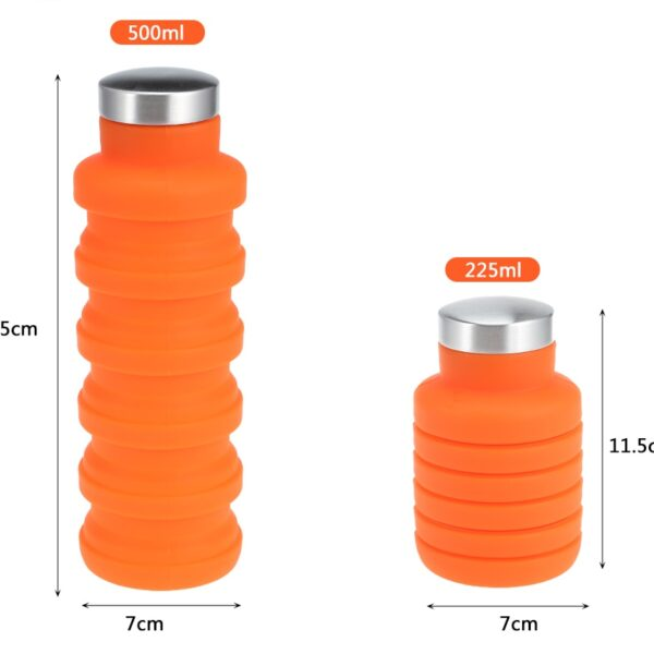 500ML Portable Silicone Water Bottle Retractable Folding Coffee Bottle Outdoor Travel Drinking Collapsible Sport Drink Kettle 4