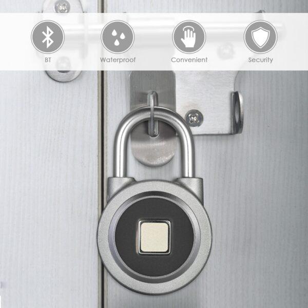Fingerprint Smart Keyless Lock Waterproof APP Button Password Unlock Anti Theft Padlock Door Lock for Android 1