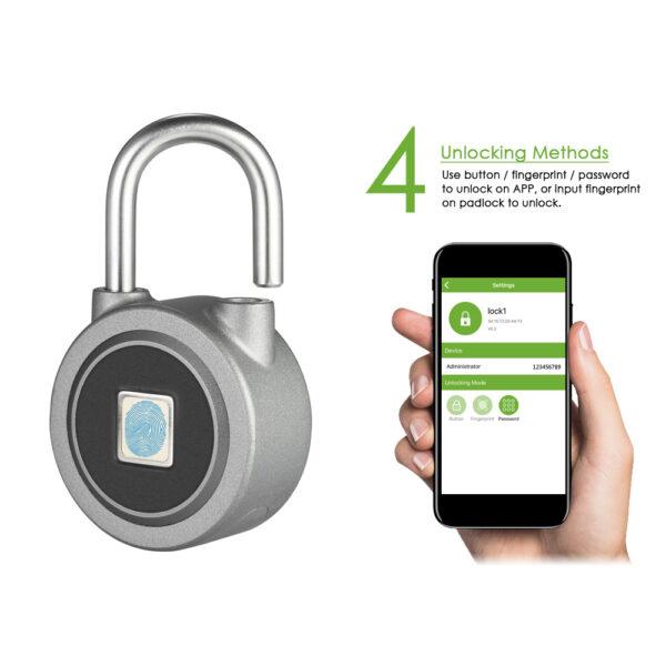 Fingerprint Smart Keyless Lock Waterproof APP Button Password Unlock Anti Theft Padlock Door Lock for Android 4