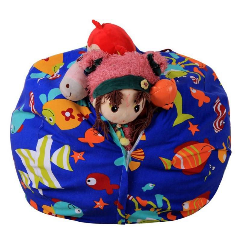 Stuffed Animal Storage Bean Bag Portable Kids Toy Storage Bag