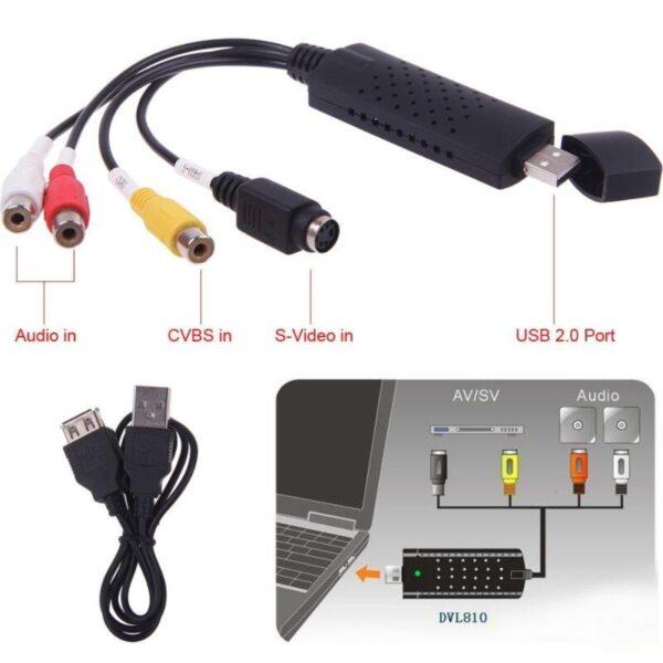USB 2 0 Video Audio Capture Card Converter PC Adapter VHS to DVD Converter Digital Video
