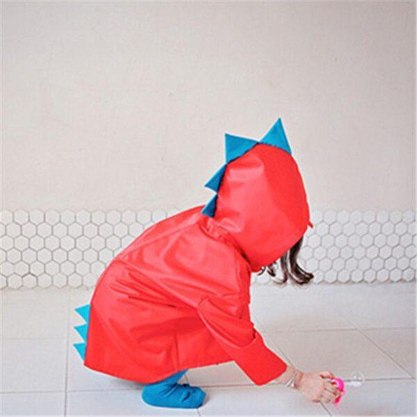 VILEAD Cute Small Dinosaur Polyester Baby Rain Coat Outdoor Waterproof Raincoat Children Windproof Poncho Boys Girls 4