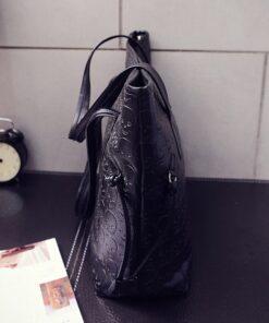 Leather skull tote shoulder bag, Leather Skull Tote Shoulder Bag