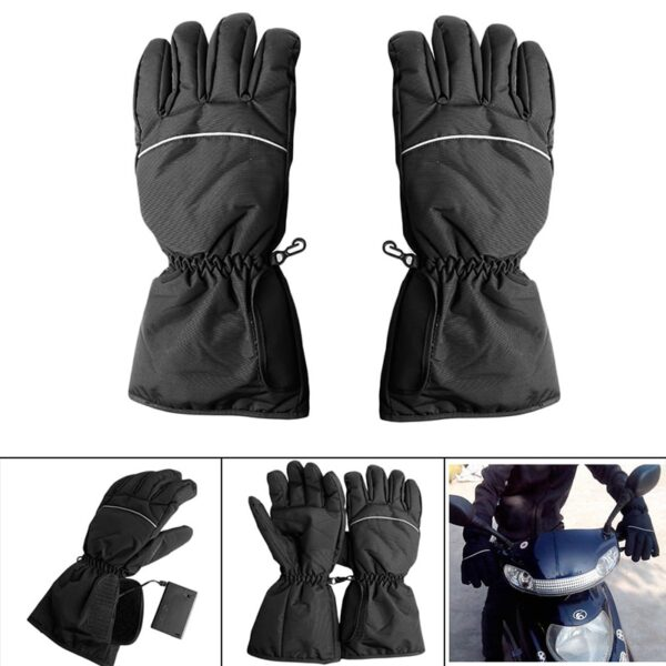 1 Pair Waterproof Heated Gloves Battery Powered For Motorcycle Hunting Winter Warmer No Battery 1