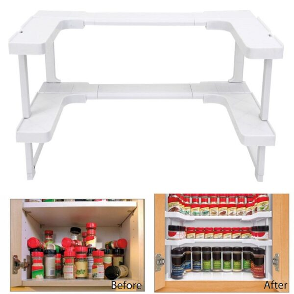 2018 New Arrivals Storage Holder Home Multi function Adjustable Kitchen Shelf Bathroom Rack Stackable Storage Organizer