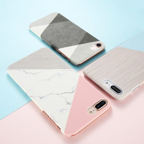 Case For iPhone XS Max XS X 6 7 Plus Case Marble Wood Ultra Slim Hard 1
