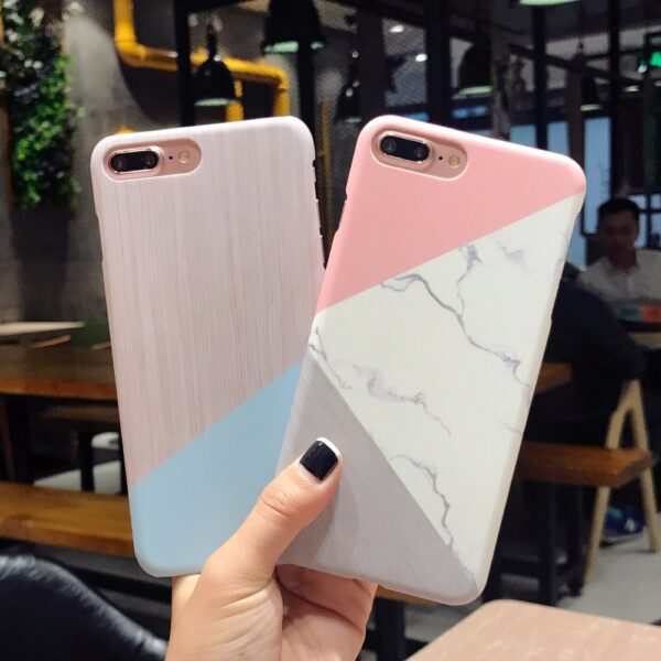 Case For iPhone XS Max XS X 6 7 Plus Case Marble Wood Ultra Slim Hard 5