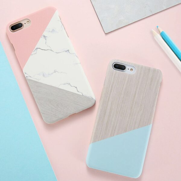 Case For iPhone XS Max XS X 6 7 Plus Case Marble Wood Ultra Slim Hard