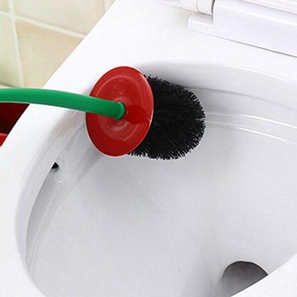 Creative Lovely Cherry Shape Lavatory Brush Toilet Brush Holder Set Red 2