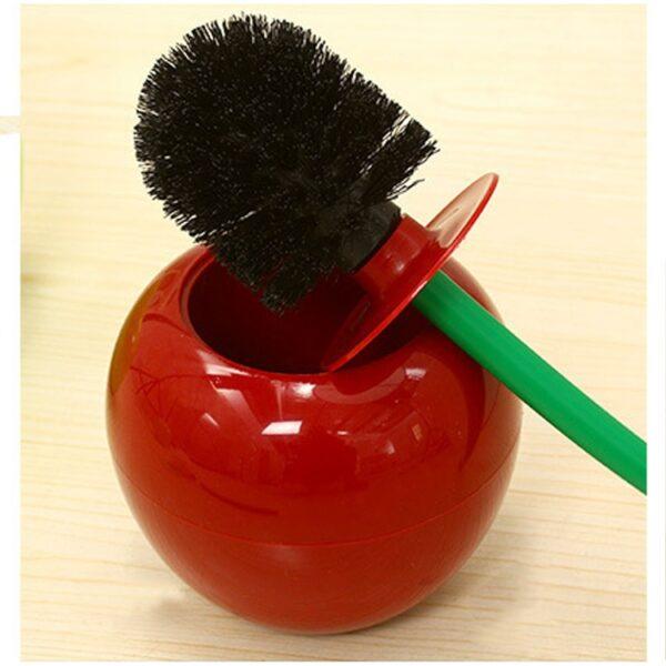 Creative Lovely Cherry Shape Lavatory Brush Toilet Brush Holder Set Red 3