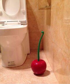 Creative Lovely Cherry Shape Lavatory Brush Toilet Brush Holder Set Red 4