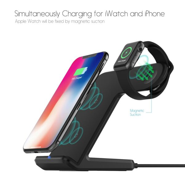 DCAE 2 in 1 Charging Dock Station Bracket Cradle Stand Holder Wireless Charger For iPhone XS 2