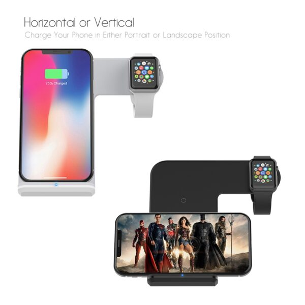 DCAE 2 in 1 Charging Dock Station Bracket Cradle Stand Holder Wireless Charger For iPhone XS 3