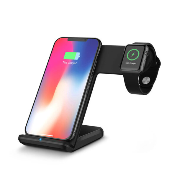 DCAE 2 in 1 Charging Dock Station Bracket Cradle Stand Holder Wireless Charger For iPhone