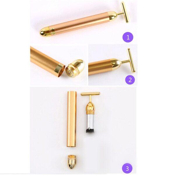 New Technology 24K Beauty Bar Golden Energy Face Massager Beauty Care Vibration Facial Massager 1PC Slimming 1