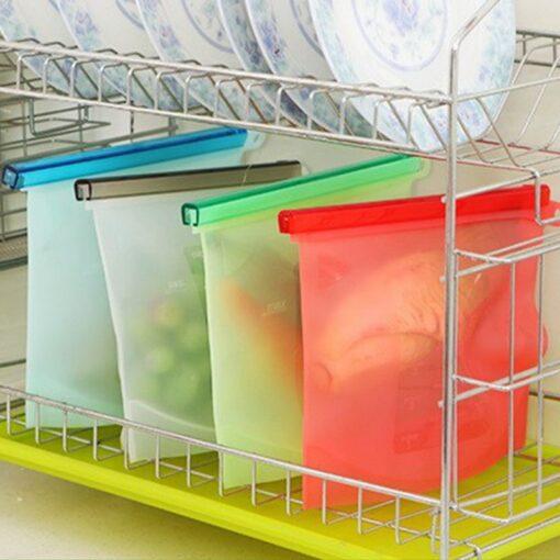 food storage bags, Reusable Silicone Preservation Airtight Seal Food Bag