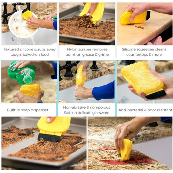 3 in 1 Silicone Sponge Hero Scrub Scrapes Squeegees For Cleaning Brush Built with Soap Dispenser 1
