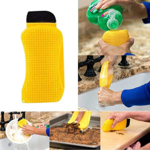 3 in 1 Silicone Sponge Hero Scrub Scrapes Squeegees For Cleaning Brush Built with Soap Dispenser