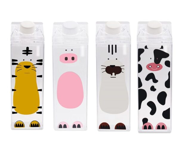 500ml Cute cartoon BPA FREE Creative HIP FLASK Sports outdoor Animal Cow pig Plastic My Water 1 e1545221241920
