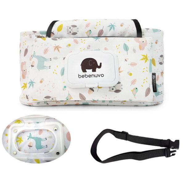 Baby Stroller Organizer Bag Mummy Diaper Bag Hook Baby Carriage Hanging Storage Bag Cartoon Folding Elephant 1