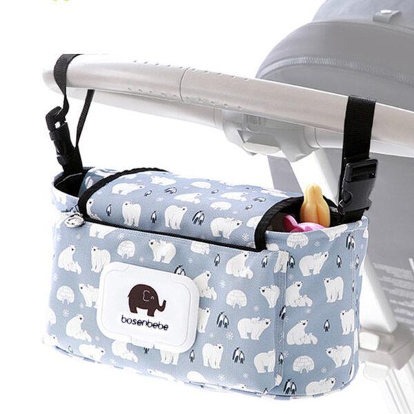 Baby Stroller Organizer Bag Mummy Diaper Bag Hook Baby Carriage Hanging Storage Bag Cartoon Folding Elephant 2