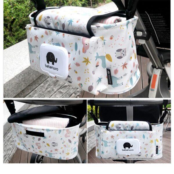 Baby Stroller Organizer Bag Mummy Diaper Bag Hook Baby Carriage Hanging Storage Bag Cartoon Folding Elephant