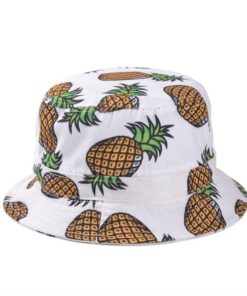 pineapple, Pineapple Printed Bucket Hats
