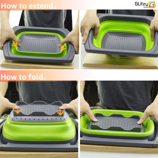 Kitchen Colander Fruit Vegetable Washing Basket Foldable Strainer Collapsible Drainer Over The Sink Adjustable Silicone Tools 1