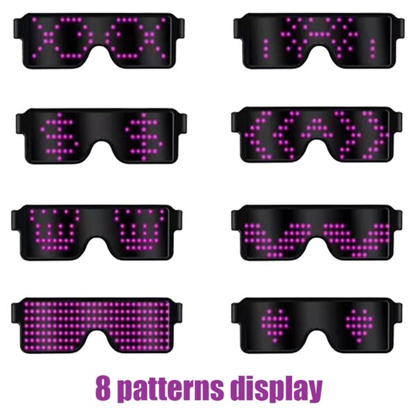 New 8 Modes Quick Flash Led Party Glasses USB charge Luminous Glasses Christmas Concert light Toys 1