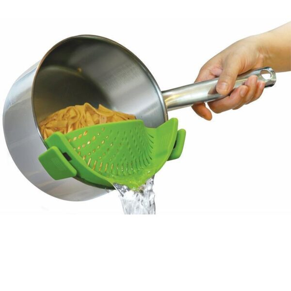Realand Universal Silicone Clip on Pan Pot Strainer for Anti spill Draining Pasta Noodle Rice Fruit 2
