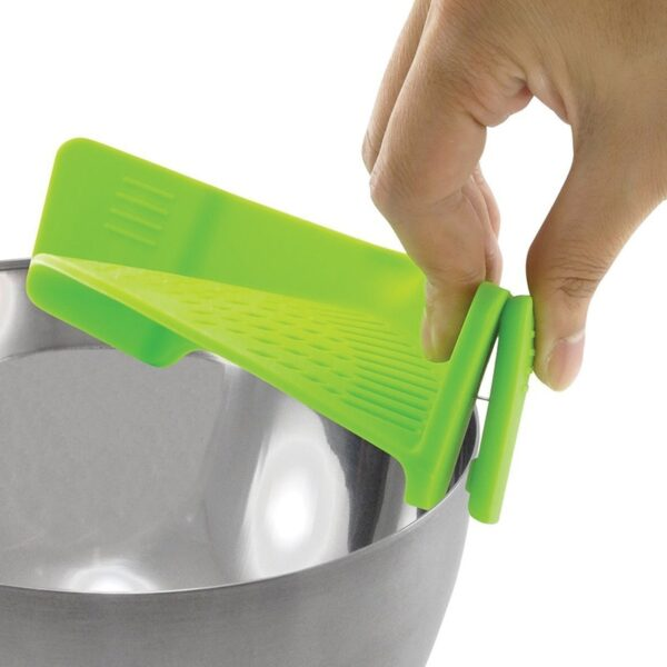 Realand Universal Silicone Clip on Pan Pot Strainer for Anti spill Draining Pasta Noodle Rice Fruit