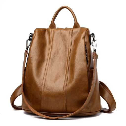 Leather Backpack, Soft Leather Tote Casual Backpack