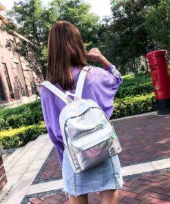 backpack, Holographic Glitter Women Backpack