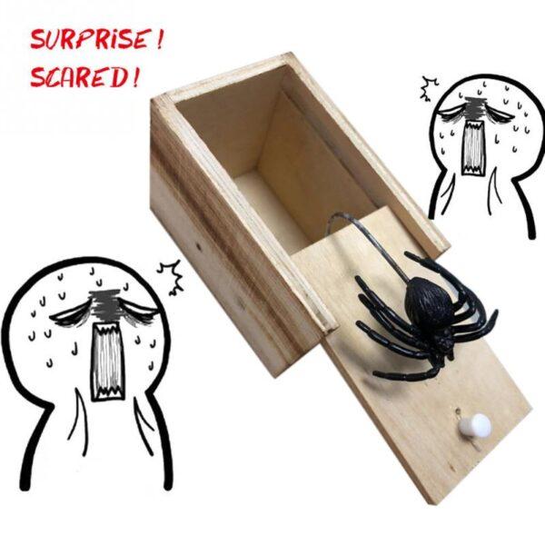 Hot Sale New Surprise Animals Spider Bite in Wooden Box Gag Gift Practical Funny Joke Prank 3